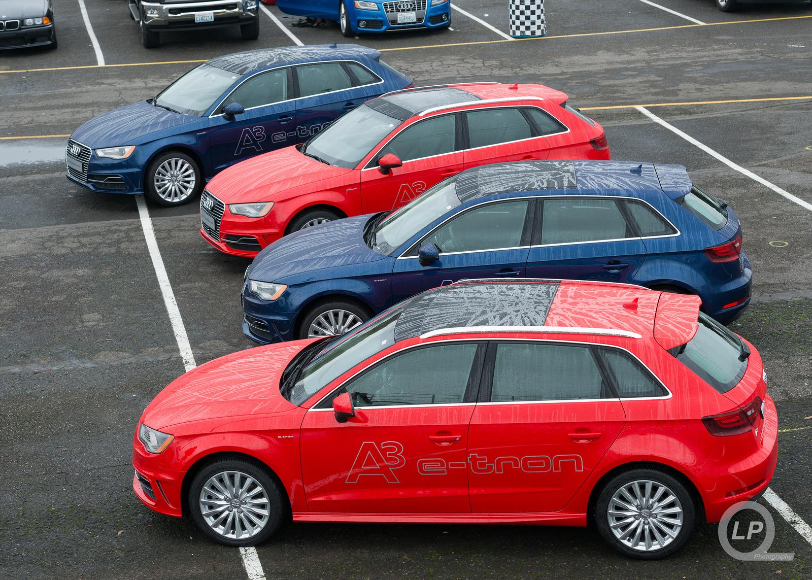 Four Audi A3 Sportback e-trons at Quattrofest