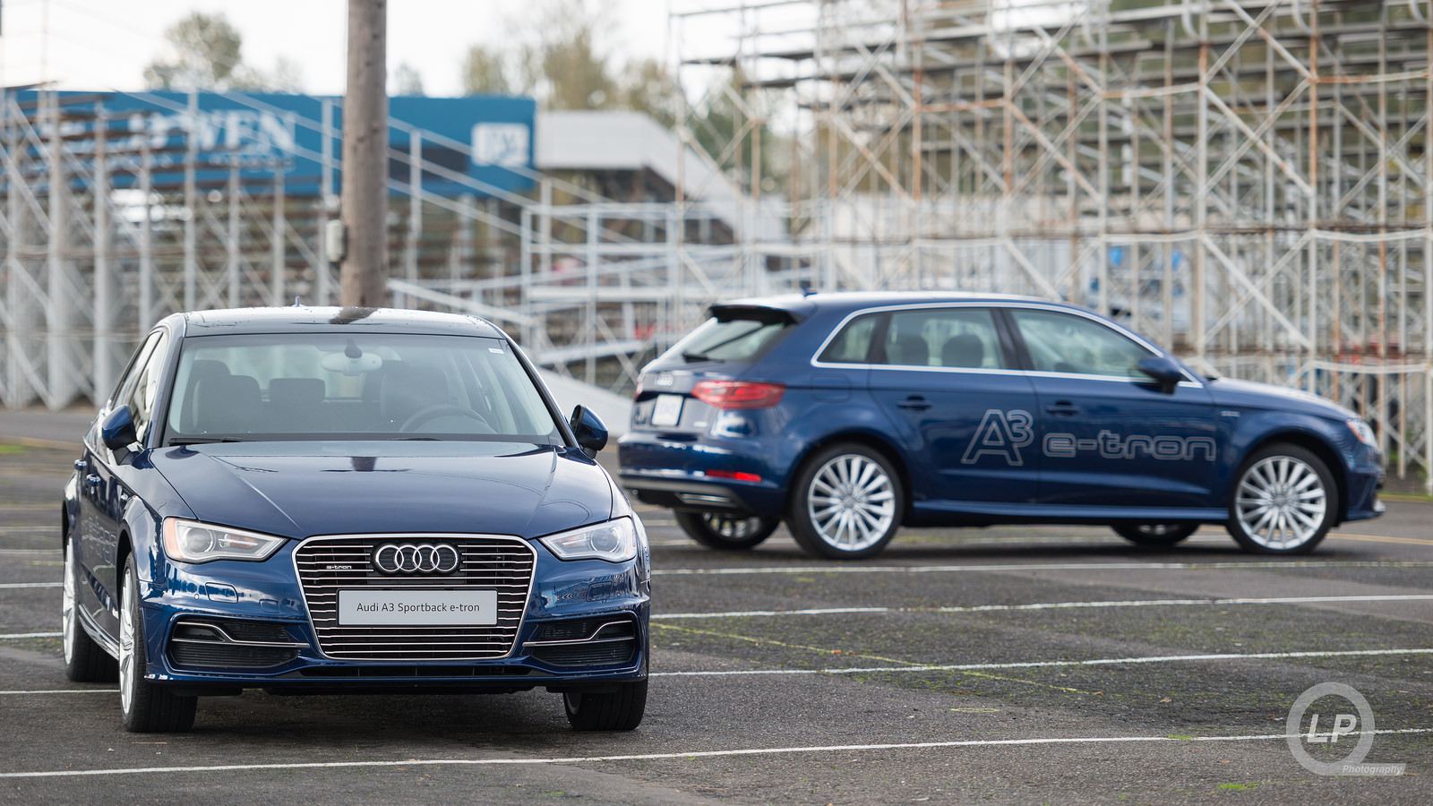 A pair of blue Audi A3 Sportback e-trons