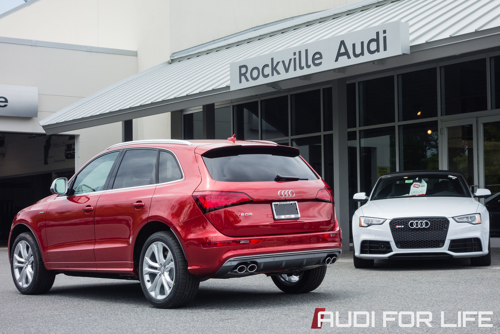 Volcano Red Audi SQ5 and Suzuka Gray RS 5 Cabriolet at Rockville Audi